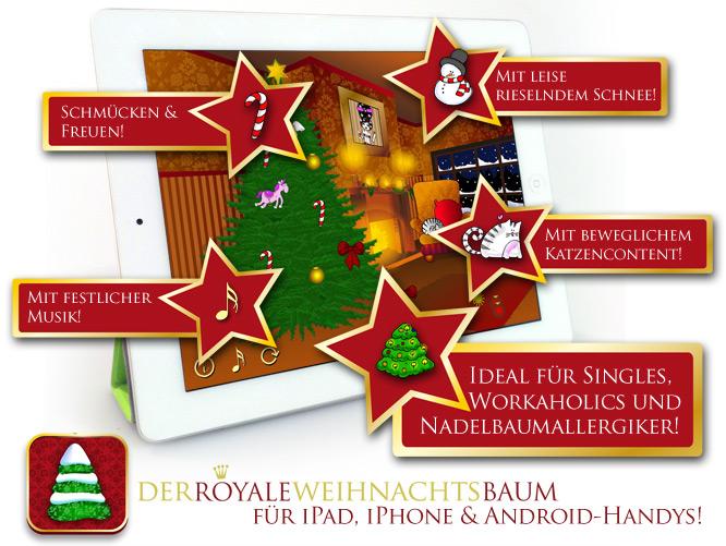 Royaler Weihnachtsbaum für iPhone, iPad, Android